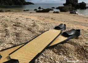 World's first bamboo-carbon fins prototype currently being tested here in Romblon waters by Sylvain Bes of Omniblue Freedive. Credits to Benjamin Angeloni, the engineer behind the epic design.