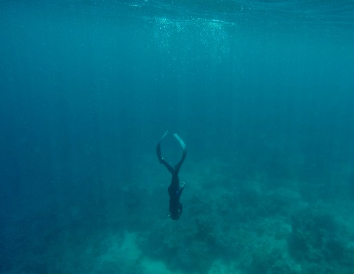 A properly executed duck dive allows you to dive down without much effort.