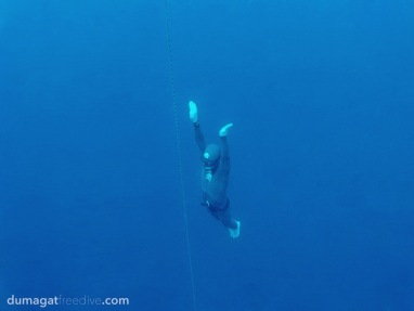 Erwan working on his constant weight no fins (CNF) technique. This depth discipline is considered to be the most challenging because the freediver performs the dive without pulling on the rope, without fins, and without variable weight to help with the descent.