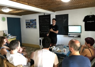 Sylvain Bes of OmniBlue Freedive talks about technique during a training camp at Dumagat Freedive.