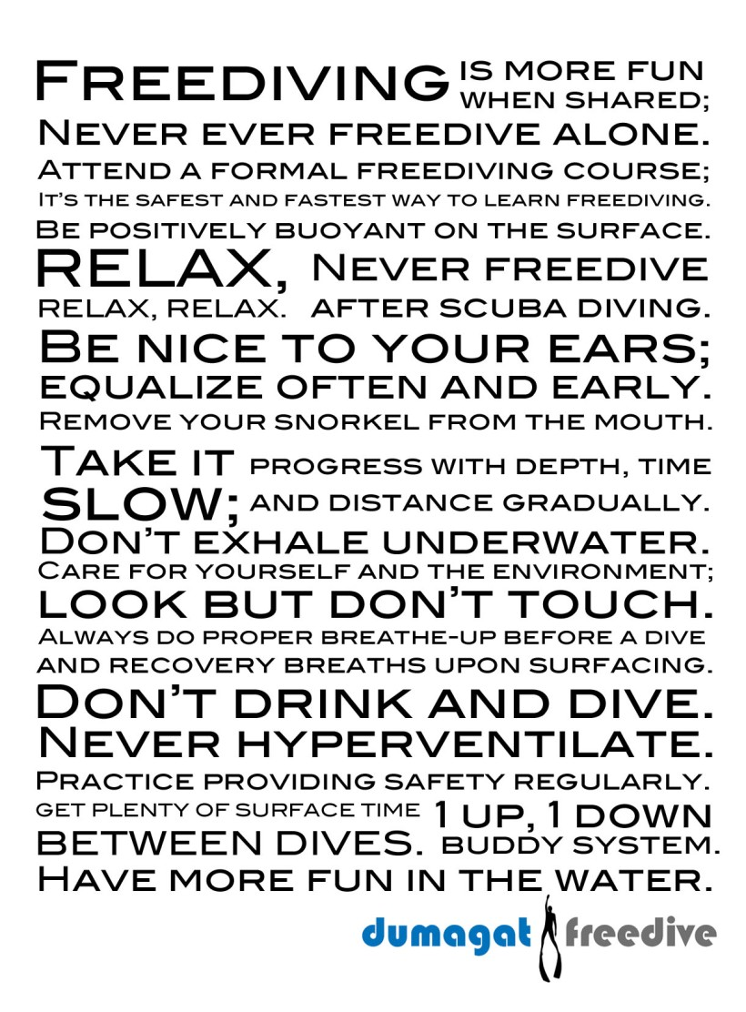 Dumagat Freedive Freediving Safety Cheat Sheet