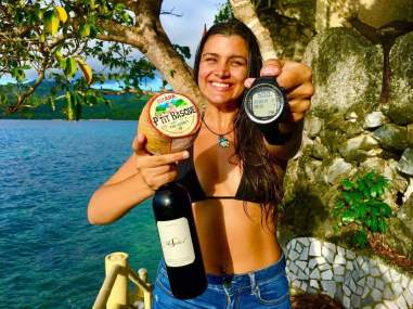 It is said that dairy products and alcohol increase mucous production which may make equalization difficult, but we say consumption of both to celebrate a perfect dive is certainly good for you. Congratulations on a new personal best of 50 meters (164 feet) on a single breath, Kyla. And thanks, Sylvain of Omniblue Freedive, for the celebratory wine and cheese.