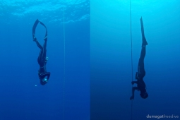 Sita & Aline practicing constant weight and free immersion dives during an SSI Level 1 Freediving course.