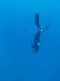 Hats off to Laura for diving to 37 meters (121 feet) on a single breath today! A true watergirl. Just 3 more seconds of freefall before the proper celebration!