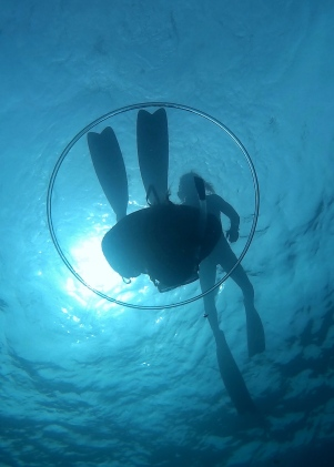Generally, we don't exhale underwater. Except when blowing bubble rings.